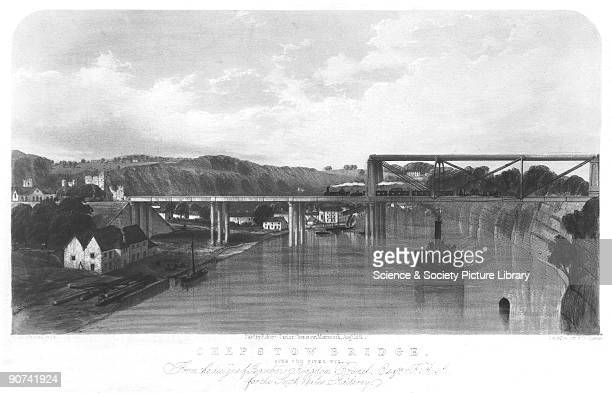 Lithograph by and after W Richardson of the original tubular steel bridge over the River Wye at Chepstow. It was designed by Isambard Kingdom Brunel...
