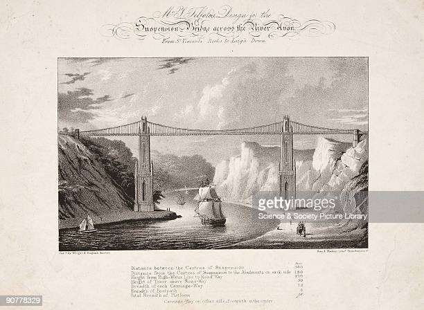 Lithograph by Bean Monday In 1829 a competition was staged to design a bridge spanning the Avon Gorge at St Vincent�s Rocks near Clifton The...