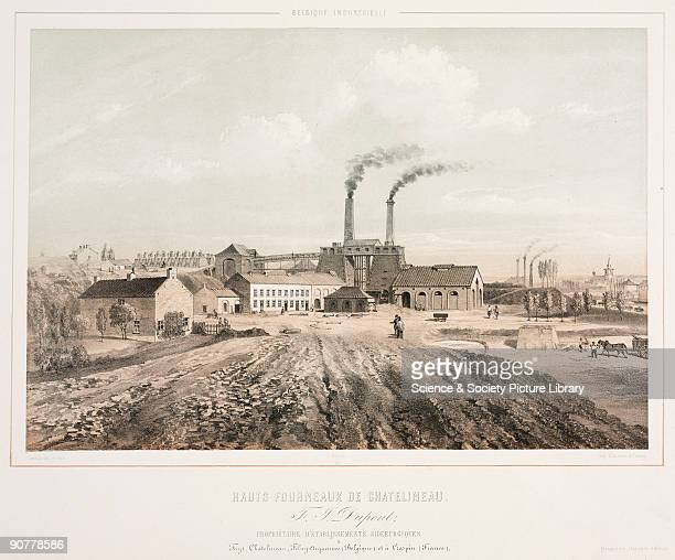 Lithograph by Canelle after his own drawing showing tall furnaces belonging to F I Dupont The workshops are in a rural setting with fields in the...
