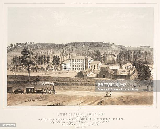 Lithograph by Canelle after his own drawing showing the east side of the factory of Messrs F Oldehove & Co. The factory was used for the manufacture...