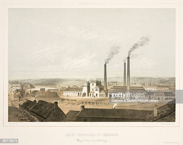 Lithograph by Canelle after his own drawing showing ThyleCrateau steelworks with its distinctive tall chimneys above the furnaces and the rolling...