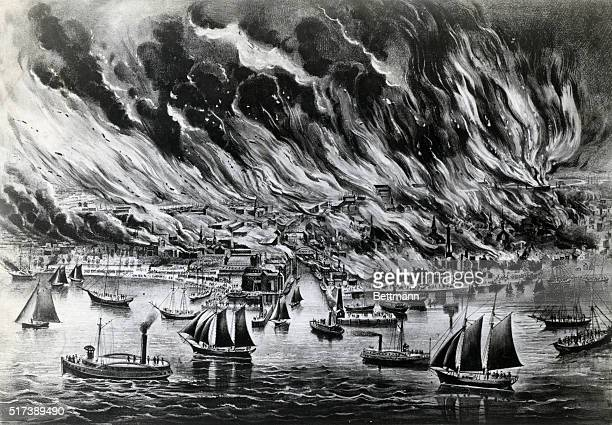 Lithograph by Currier and Ives The Great Fire at Chicago October 8th 1871 In the foreground sailboats and steamboats crowd Lake Michigan In the...