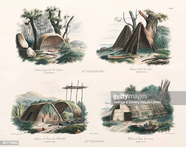 Lithograph by de Langlume drawn and painted by de Sainson showing dwellings in what is now Australia and New Zealand with their heights Port of King...