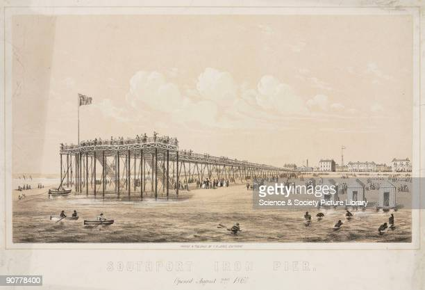 Lithograph by F M Jones showing the seafront at the holiday resort of Southport and the town�s pier, which opened on 2 August 1860. The pier at...
