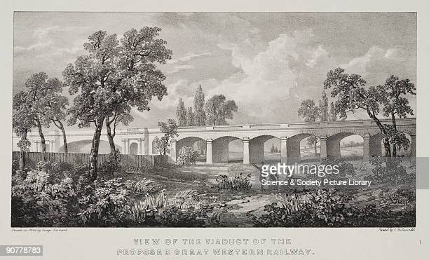 Lithograph by G Barnard showing a view of a viaduct on the proposed Great Western Railway Designed by Isambard Kingdom Brunel Wharncliffe Viaduct was...