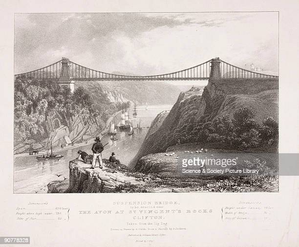 Lithograph by G Childs after a sketch by S Jackson showing the suspension bridge spanning the River Avon 245 feet above the water designed by...
