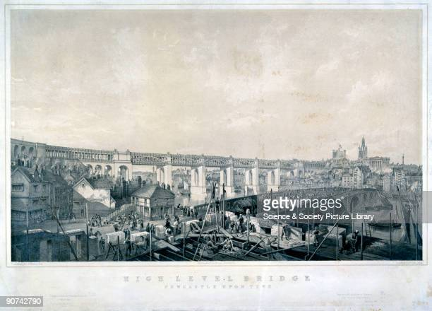 Lithograph by G Hawkins after a drawing by James Wilson Carmichael showing the newly constructed High Level Bridge and in the foreground the bridge...