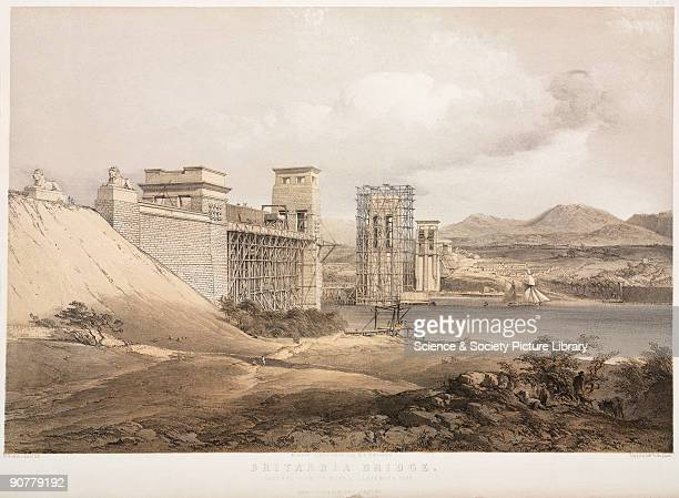 Lithograph by G Hawkins after his own drawing showing a general view of the works in September 1848 The bridge was designed by Robert Stephenson and...