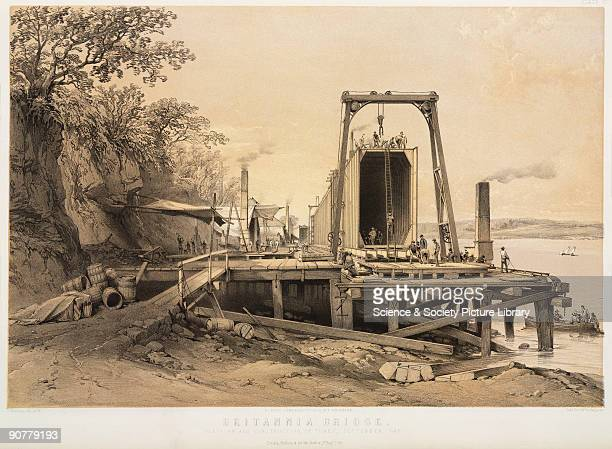 Lithograph by G Hawkins after his own drawing showing the platform and the construction of the tubes in September 1848 The bridge was designed by...