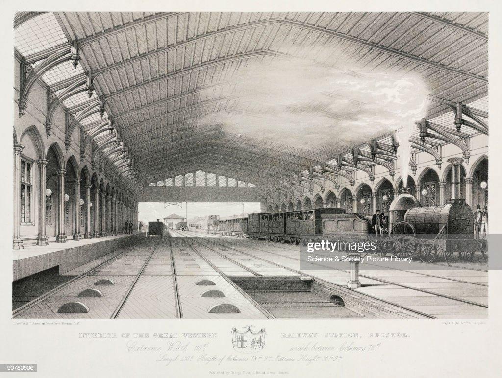 The interior of Bristol Station, 19th century. : News Photo