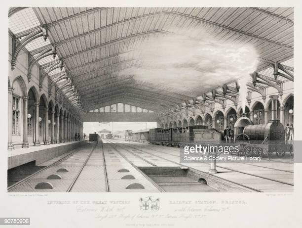 Lithograph by G Hawkins Jnr after S C Jones showing an interior view of Bristol station on the Great Western Railway Isambard Kingdom Brunel was...
