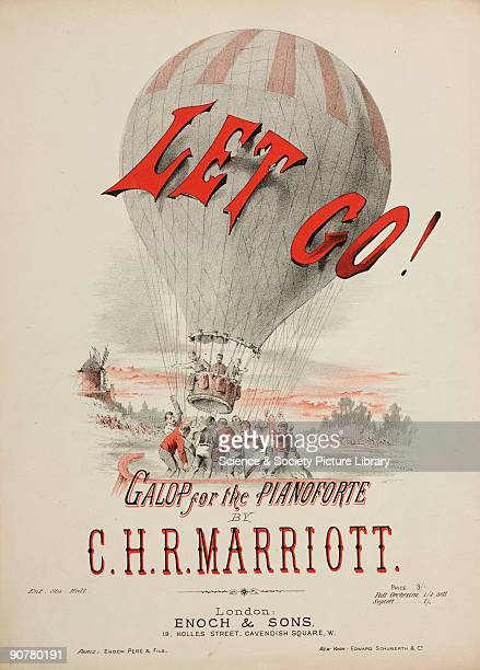 Lithograph by Home MacDonald This cover for sheet music entitled �Let Go Galop for the Pianoforte� by C H R Marriott features an image of a balloon...