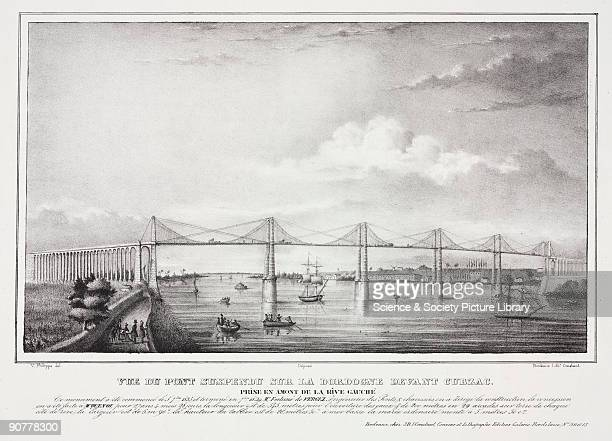 Lithograph by J B J Constant after an original drawing by V Philippe titled �Vue du Pont Suspendu sur la Dordogne devant Cubzac� This bridge was...