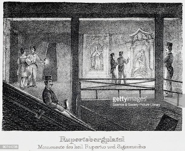 Lithograph by J Stiessberger of Salzburg entitled �Rupertsbergplatzl Monumente des heil Rupertus und Sigismundus' showing a view of tourists and...