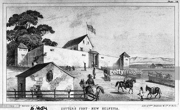 Lithograph by J W Revere of Sutter's Fort at New Helvetia shortly before the Gold Rush circa 1848 From 'JW Revere A Tour of Duty 1848' published in...