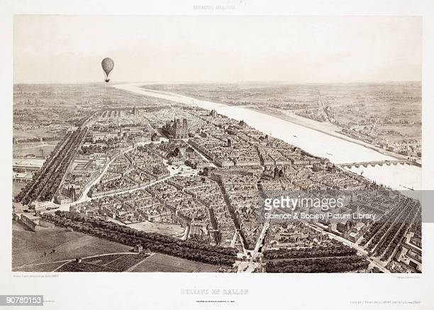 Lithograph by Jules Arnout after his original drawing from nature showing a panoramic view over the Faubourg St Jean in the French city of Orleans...