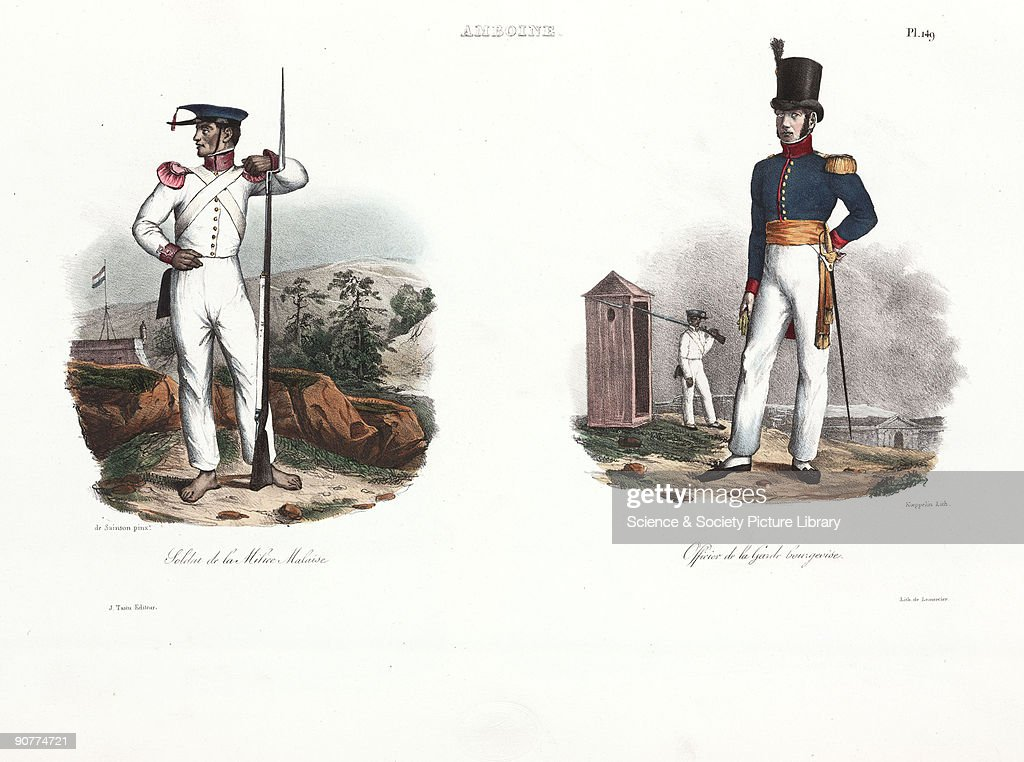 Soldier of the Malay militia and European officer, Ambon, 1826-1829 ...