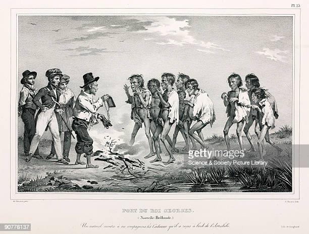 Lithograph by Maurin after de Sainson of a scene at Port of King George in what is now Australia It is captioned �A native shows his companions the...