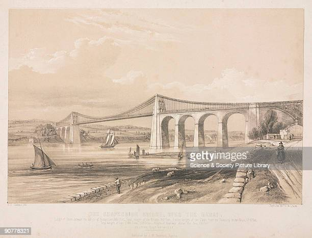 Lithograph by R K Thomas The suspension road bridge connecting the Welsh mainland with Anglesey across the Menai Straits was designed by Thomas...