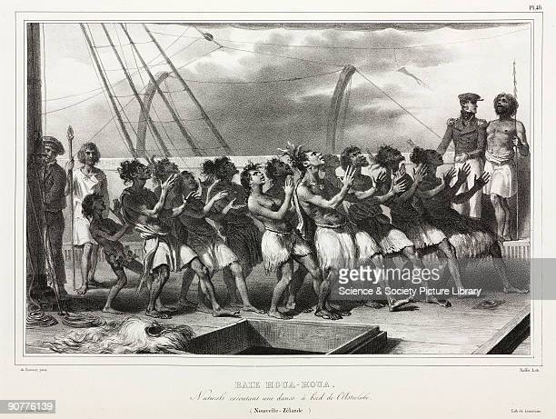 Lithograph by Raffet after de Sainson showing a scene at Houa Houa Bay captioned �Natives executing a dance aboard the Astrolabe� The Astrolabe was...