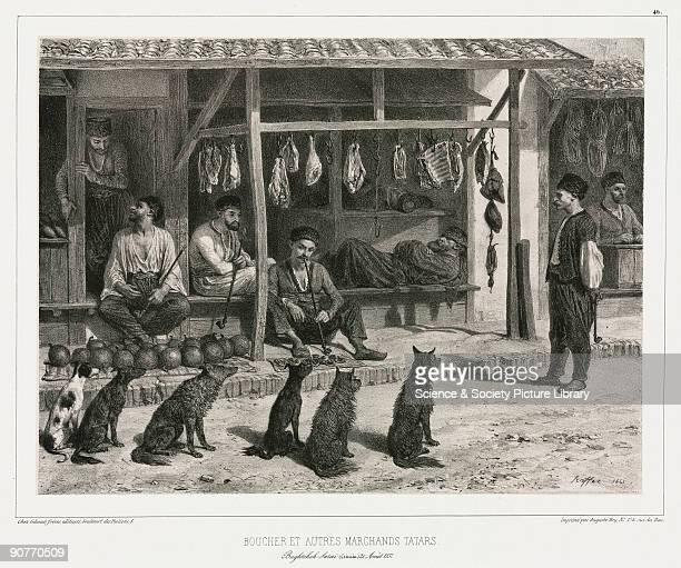 Lithograph by Raffet of dogs waiting outside a butcher�s shop in the Crimea From �Voyage dans la Russie meridionale et la Crimee par la Hongrie la...