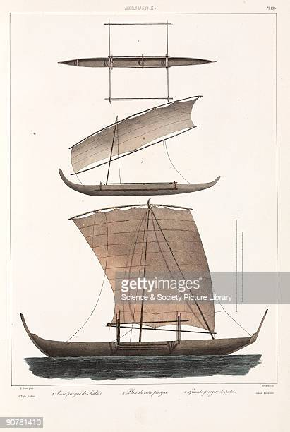 Lithograph by Simeon after E Paris showing a small Malay outrigger canoe in plan and from the side and a large fishing canoe Ambon is an island in...