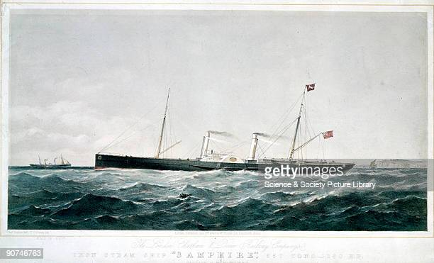 Lithograph by T G Dutton after an original drawn by Charles Taylor showing the �Samphire' a pasenger vessel owned and operated by the London Chatham...