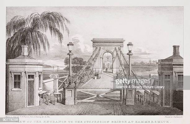 Lithograph by T M Baynes after an original drawing by A Mee Hammersmith Bridge was a chain suspension type designed by William Tierney Clark and...