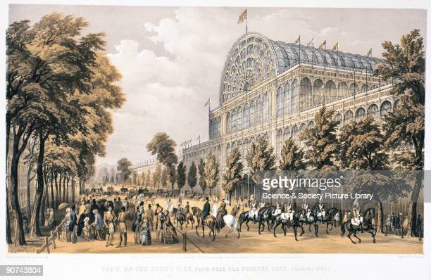 Lithograph by T Picken after an original painting by Phillip Brannan showing crowds and soldiers on horseback outside the Crystal Palace The Crystal...