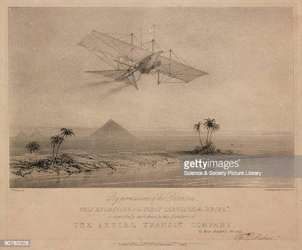 Lithograph by W L Walton and published by Ackermann Company showing Henson's Aerial Steam Carriage in a fictitious flight over the Nile and the...