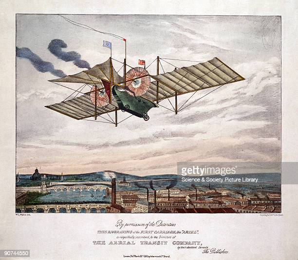 Lithograph by W L Walton showing Henson's Aerial Steam Carriage in a fictitious flight over a major city William Henson patented his Aerial Steam...