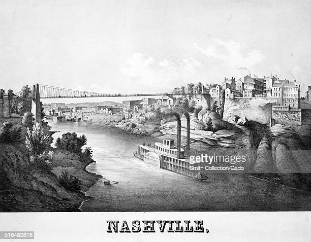 Lithograph captioned Nashville depicting a steamboat going down the Cumberland River and the city perched on a hill Nashville Tennessee 1857 From the...