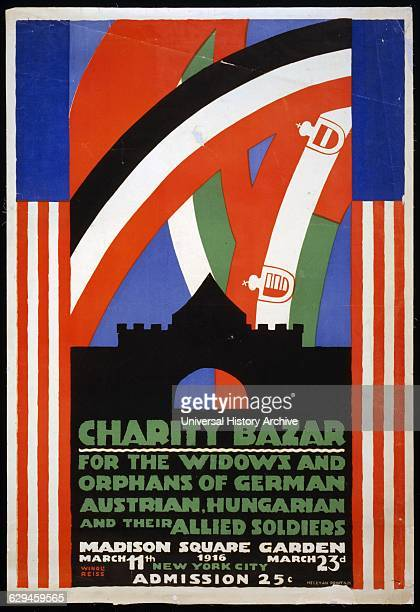 Lithograph, colour, print, poster for a charity bazaar for the widows and orphans of German, Austrian, Hungarian and their allied soldiers at Madison...