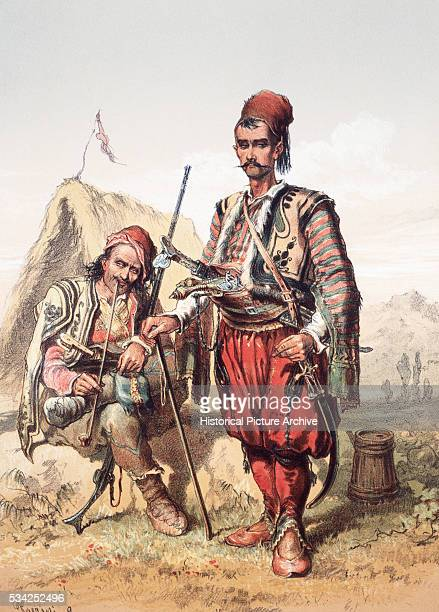 Lithograph Croatian Guards by Amadeo Preziosi