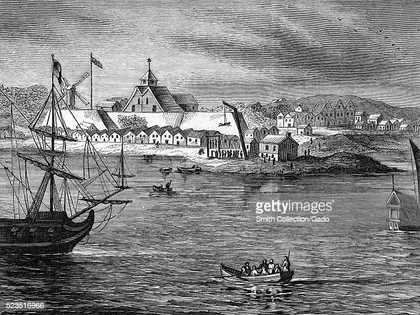 Lithograph depicting a view of Fort Amsterdam a fort on the southern tip of Manhattan that was the administrative headquarters for the Dutch and then...