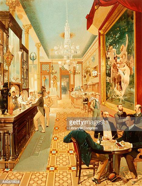 Lithograph Depicting an Interior View of the Hoffman House Bar