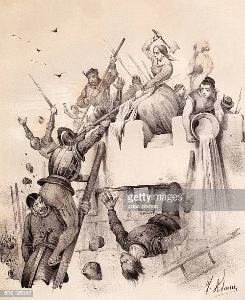Jeanne Hachette during the capture of Beauvais in June 1472 Lithography