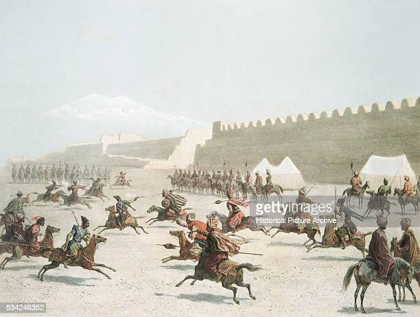 Lithograph Depicting Kurds Fighting Tartars