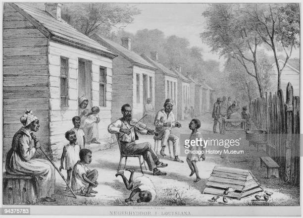 Lithograph depicting slave life in the American territories of Louisiana showing an older slave playing a fiddle while children dance and play around...