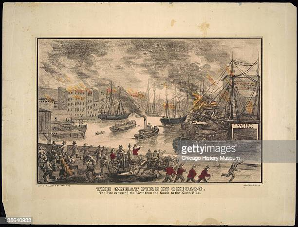 Lithograph depicting the Great Chicago Fire crossing the Chicago River Chicago Illinois early 1870s