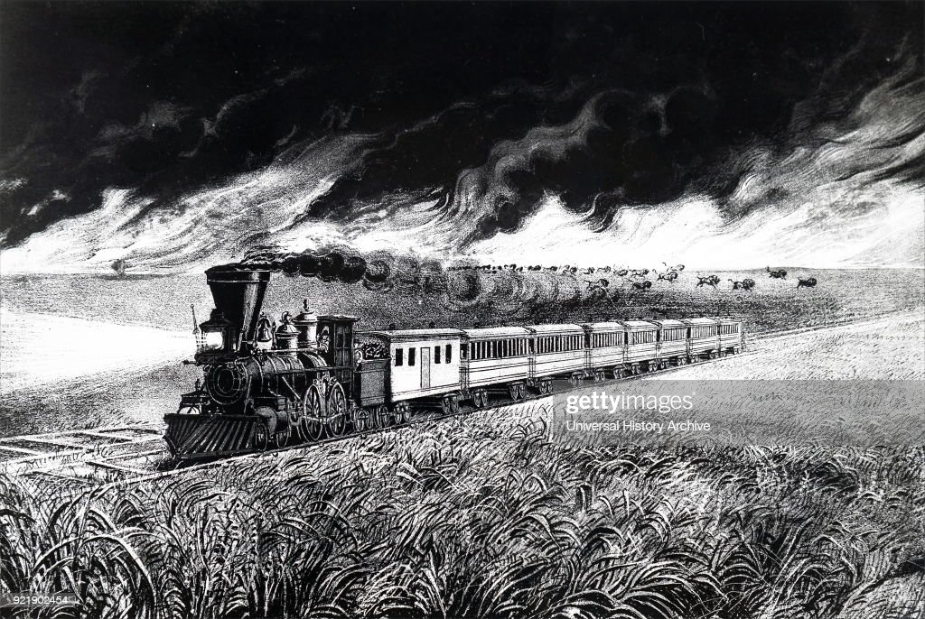 Lithograph depicting the prairie fires of the Great West. Pictured is a train with a cowcatcher and headlamp crossing a prairie while buffalo stampede in the face of a prairie fire. Printed by Currier and Ives. Dated 19th century.