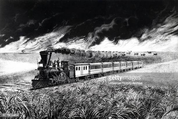 Lithograph depicting the prairie fires of the Great West Pictured is a train with a cowcatcher and headlamp crossing a prairie while buffalo stampede...