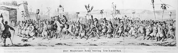 Lithograph depiction of 'Peter Stuyvesant's Army entering...