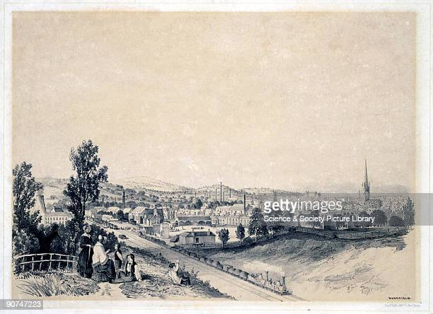 Lithograph drawn and lithographed by Arthur Fitzwilliam Tait showing a hilltop view of the cathedral city of Wakefield in Yorkshire A family are...