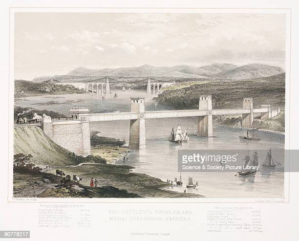 Lithograph drawn and lithographed by G Hawkins showing the two bridges built across the Menai Straits in the 19th century The Menai Straits road...