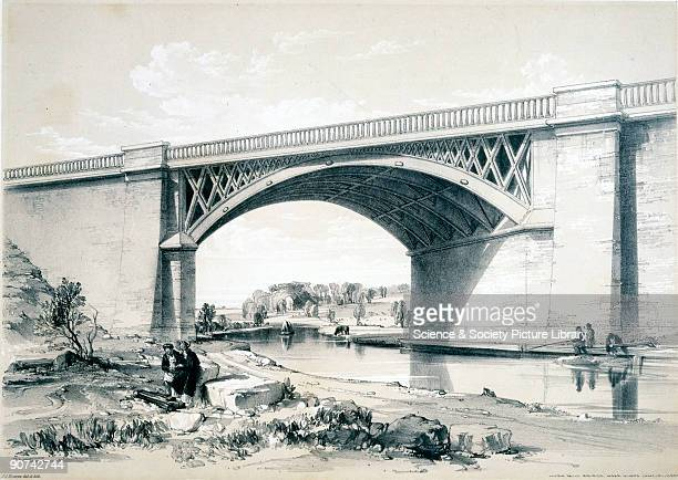 Lithograph drawn and lithographed by J C Bourne showing the bridge built to carry the London and Birmingham Railway over the Grand Junction Canal at...