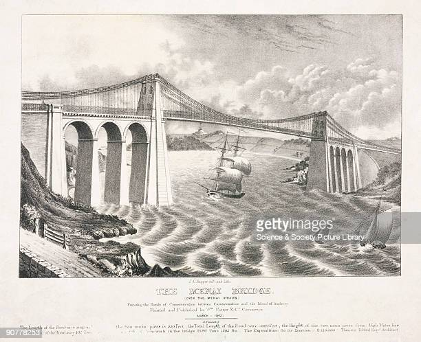 Lithograph drawn and lithographed by J C Napper showing sailing vessels passing beneath the suspension road bridge connecting the Welsh mainland with...