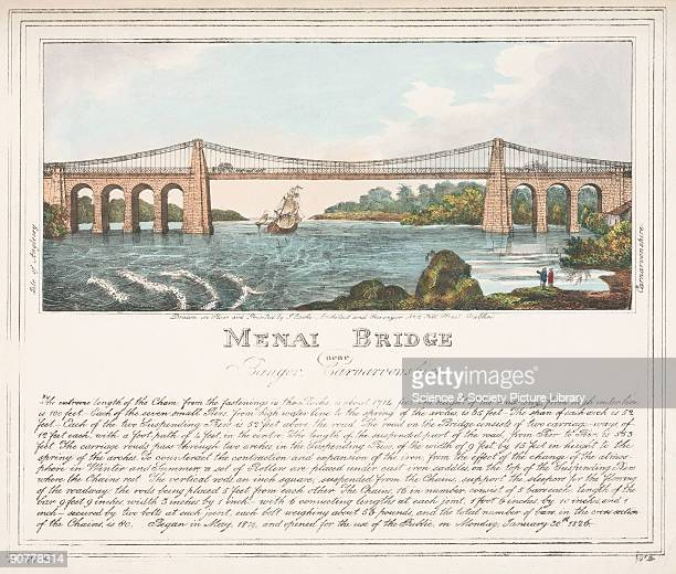 Lithograph drawn and lithographed by J Cooks architect and surveyor Dublin with a technical description of the bridge beneath the illustration The...