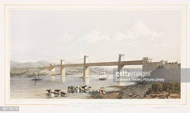 Lithograph drawn and lithographed by J Fagan The Britannia Tubular Bridge was designed by Robert Stephenson and was completed in 1850 It was...
