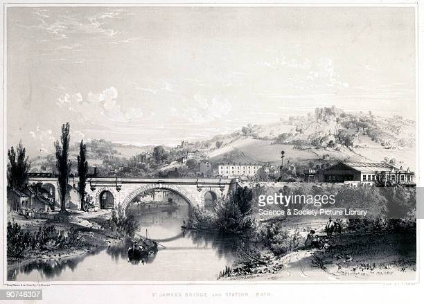Lithograph drawn and lithographed by John Cooke Bourne printed by C F Cheffins The Kennet and Avon Canal in Bath which had been in use since 1810 was...